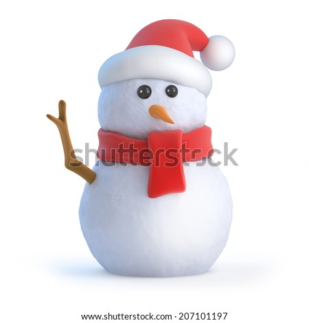 3d render of a snowman wearing a Santa hat and waving hello - stock photo