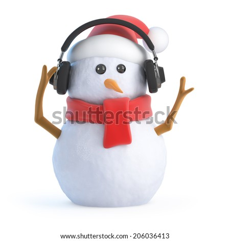 3d render of a snowman wearing headphones - stock photo