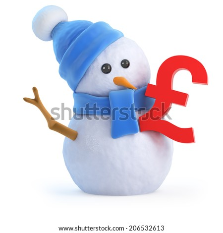 3d render of a snowman with a UK Pounds Sterling symbol - stock photo
