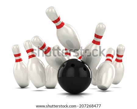 3d render of a ten pin bowling as ball hits pins - stock photo