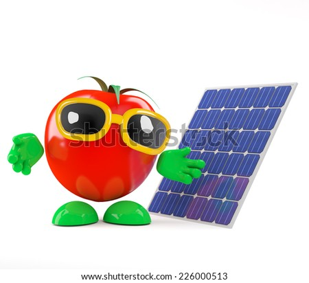 3d render of a tomato with a solar panel - stock photo
