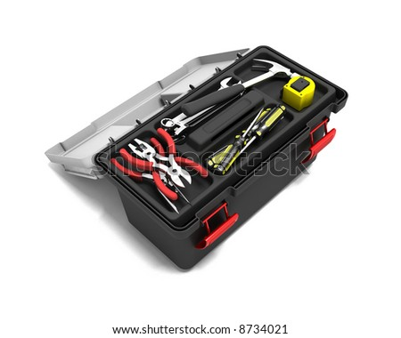3D render of a toolbox full of tools - stock photo