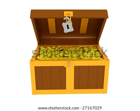 3d render of a treasure chest. Isolated on white background. - stock photo