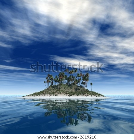 3d render of a tropical island in a sunny day - stock photo