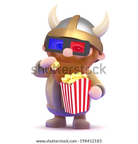 3d render of a viking eating popcorn at the cinema - stock photo