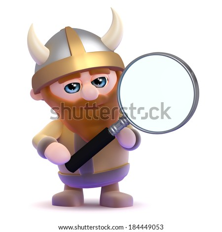 3d render of a viking holding a magnifying glass - stock photo