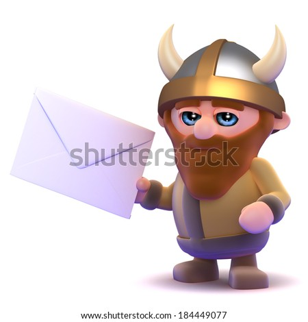 3d render of a viking holding an envelope - stock photo