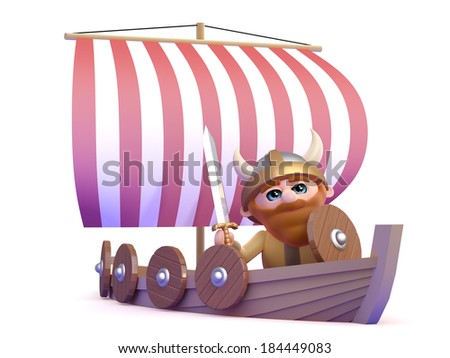 3d render of a viking in his longship - stock photo