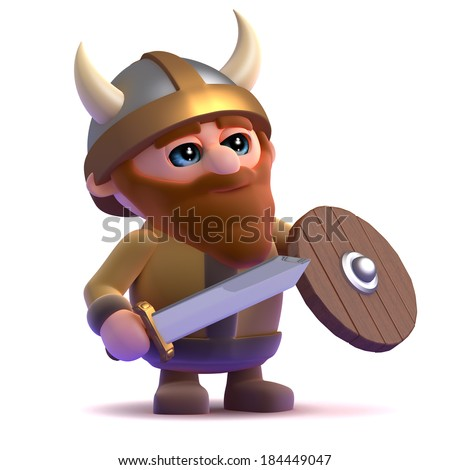 3d render of a viking standing ready for battle - stock photo
