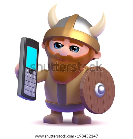 3d render of a viking with a mobile phone - stock photo