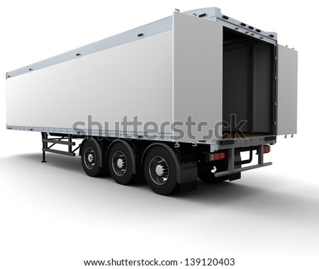 3D render of a white freight trailer - stock photo