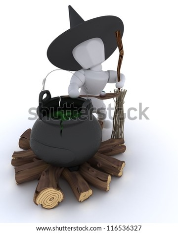 3D render of a witch with cauldron of eyeballs on log fire - stock photo