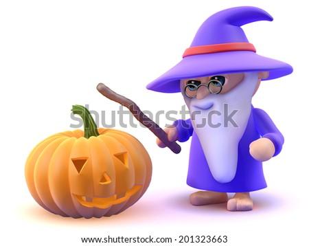 3d render of a wizard and a Halloween pumpkin - stock photo