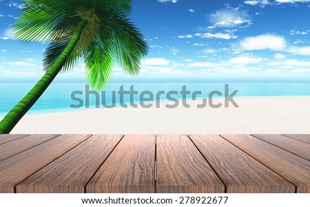 3D render of a wooden table looking out to a beach with palm tree - stock photo
