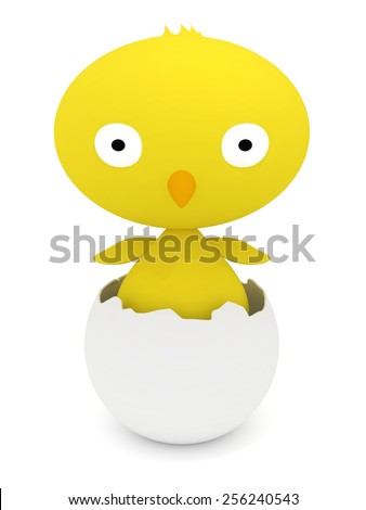 3D render of a yellow bird hatching from its shell - stock photo