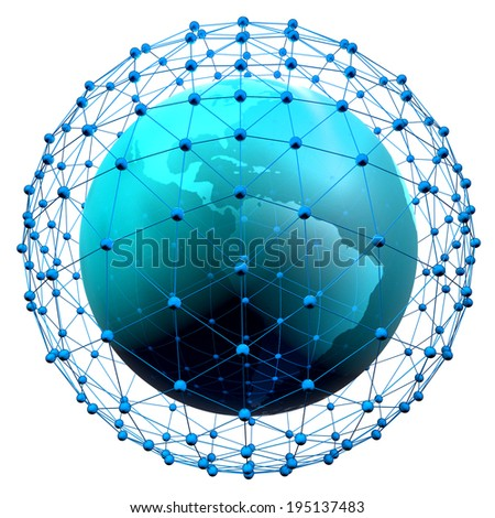 3d render of abstract earth globe icon with network, concept for communication and global networking, isolated on white background. - stock photo