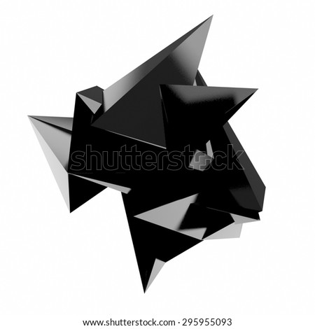 3d render of abstract geometric shape from triangular faces - stock photo