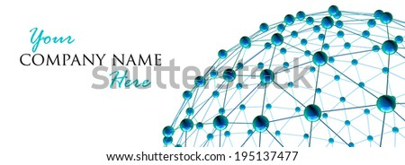 3d render of abstract network, concept for news, communication and global networking, isolated on white background. - stock photo