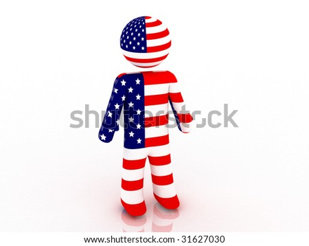 3d render of american person. 4th July. - stock photo