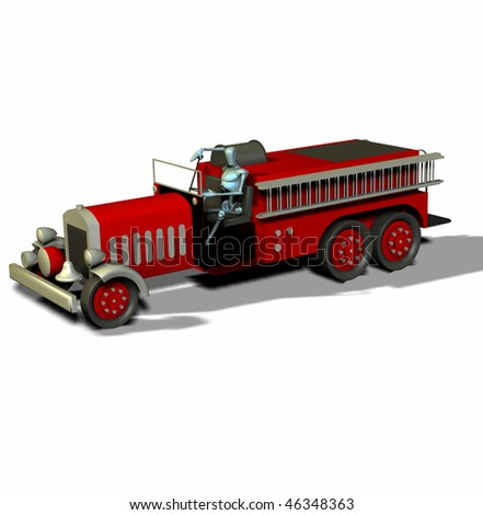 3d render of an antique fire truck and manikin side view - stock photo