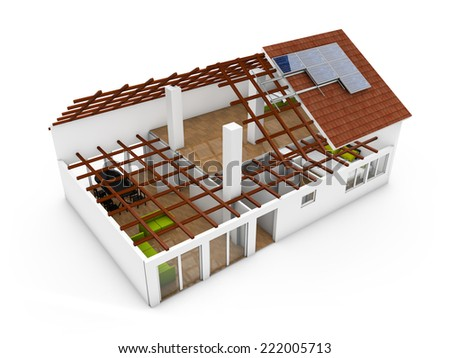 3d render of an architecture model over plots and technical draws - stock photo