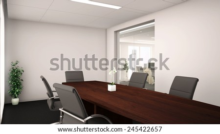 3d render of an conference room interior with wood table - stock photo