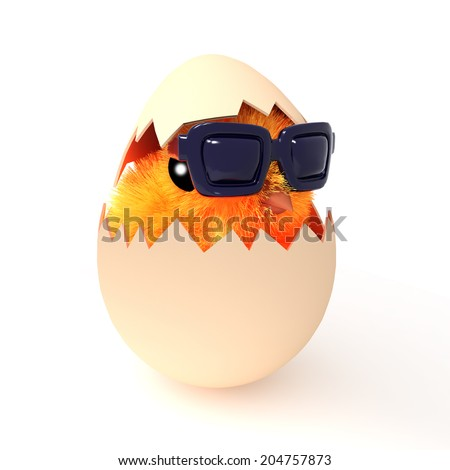 3d render of an Easter chick hatching from the egg and wearing sunglasses - stock photo