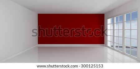 3D Render of an Empty Room with Windows - stock photo