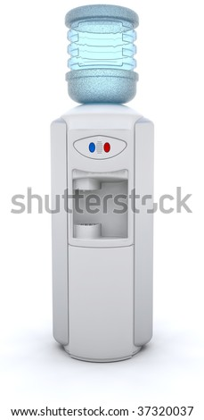 3D render of an office water cooler - stock photo