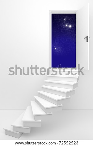 3d render of an opened door to a dream night sky / Sweet dreams - stock photo