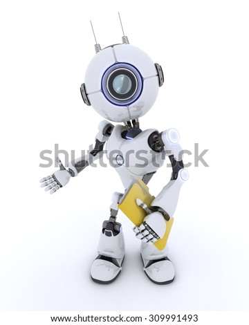 3D Render of an Robot with folder and documents - stock photo