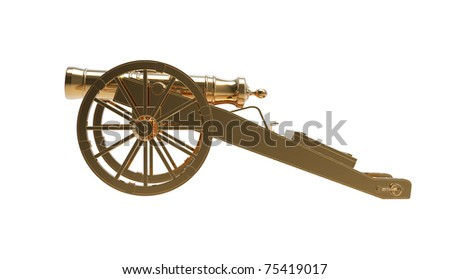 3d render of  ancient gold gun on a white background - stock photo