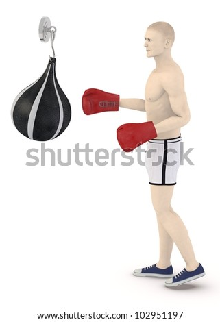 3d render of artifical male boxing - stock photo