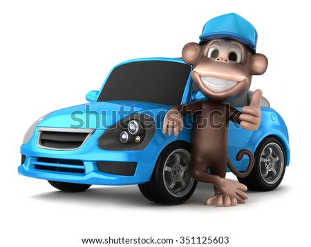 3d render of auto mechanic monkey showing thumbs up sign beside a blue car - stock photo
