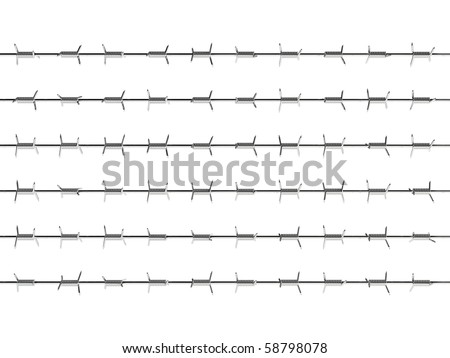 3d render of barbed wire on white background - stock photo