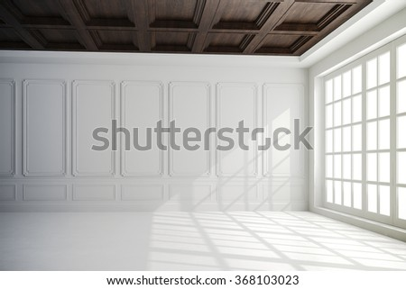 3d render of beautiful interior with white walls and wood ceiling setup - stock photo