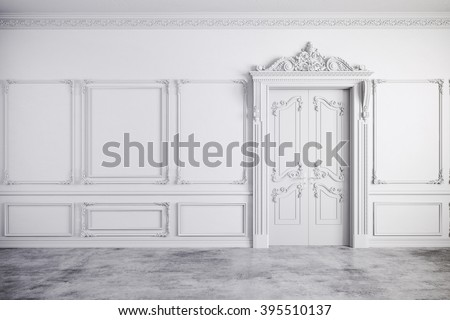 3d render of beautiful vintage white interior - stock photo
