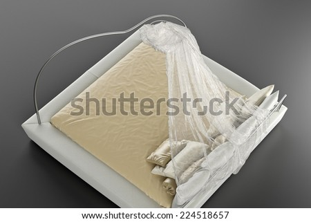 3d render of bed with canopy in the Oriental style - stock photo