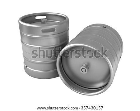 3d render of beer kegs isolated over white background - stock photo