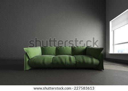 3d render of big dark gray room - stock photo