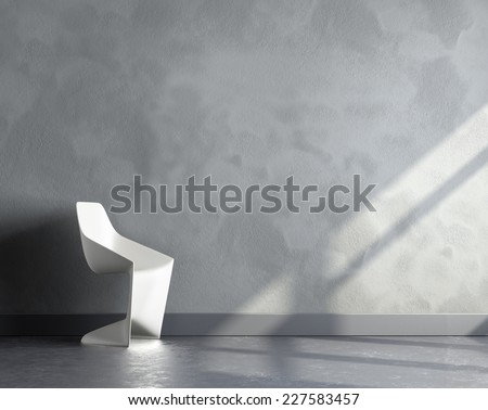 3d render of big empty room with white plastic chair - stock photo