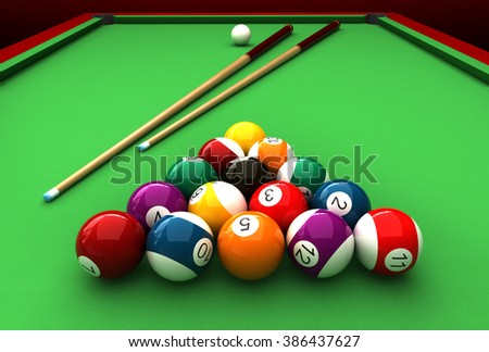 3d render of billiard balls and table - stock photo