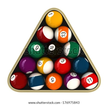 3d render of billiard balls isolated over white - stock photo