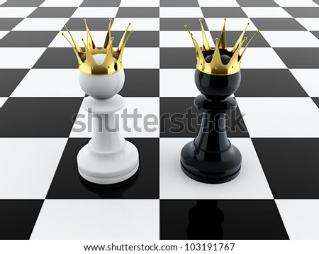 3D render of black and white pawn kings on chessboard - stock photo