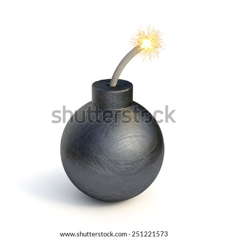 3d render of black bomb isolated on white background - stock photo