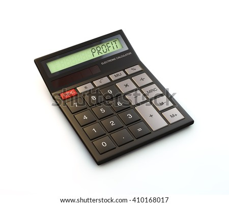 3d render of black calculator with profit on display isolated on white background - stock photo