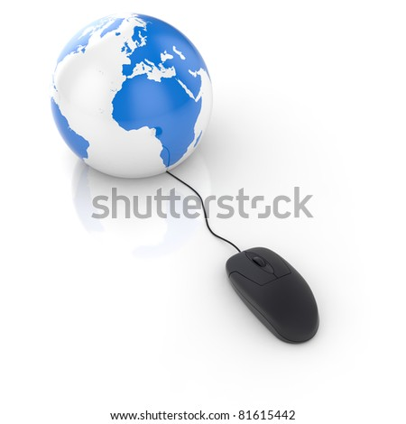 3d render of black glossy computer mouse connected to a globe Earth - stock photo