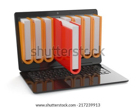3d render of black laptop with folders inside screen. Storage concept - stock photo