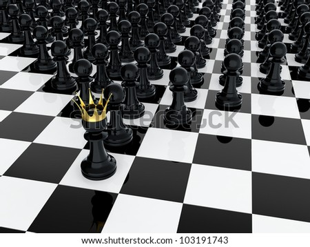 3D render of black pawn with golden crown leading it army - stock photo