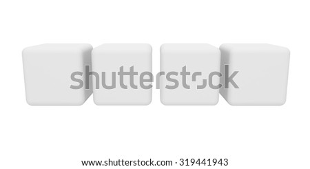 3d render of blank cubes isolated on white background - stock photo